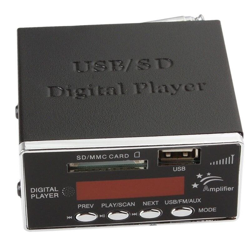 AMPLIFICADOR DE POTENCIA de 12V para coche, reproductor de Audio MP3 SD USB, lector de Radio FM, 4 teclados electrónicos, compatible con tarjeta USB SD MMC con mando a distancia