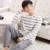De algodón de Manga Larga Pijama O-cuello De Los Hombres Par de Rayas de Otoño del Resorte de Los Hombres Pijamas Set Mujeres Sleepshirts Homewear Ropa de Dormir