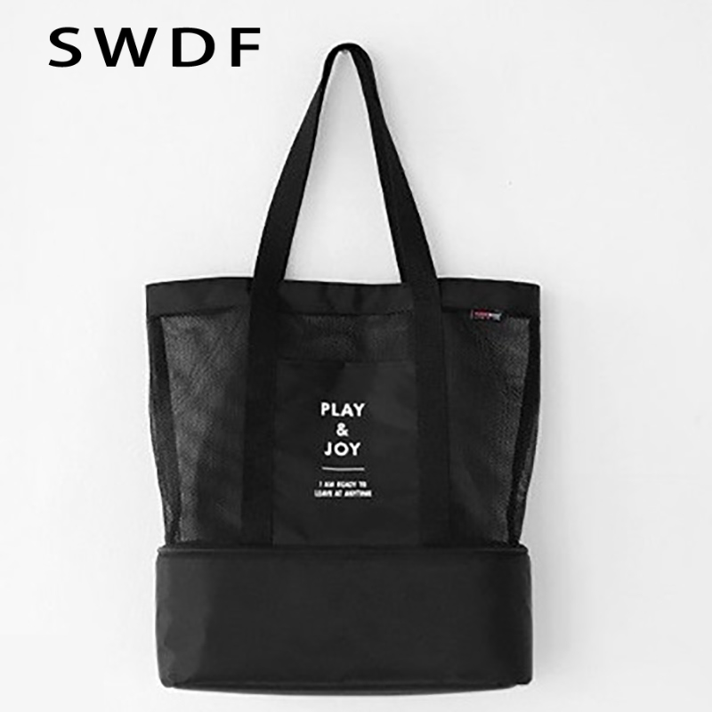 SWDF 2018 Double Picnic Lunch Bag Grid Storage Bag Container Tote Handbags Portable insulation Food and beverage storage