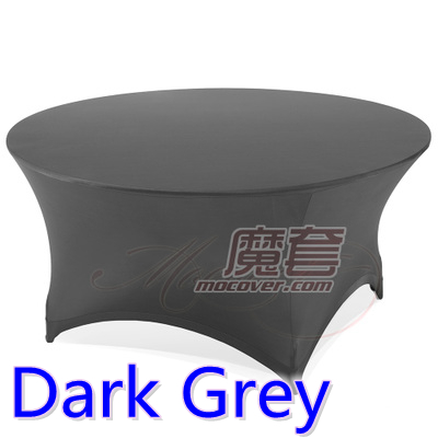 Spandex Table Cover Dark Grey Color Round Lycra Stretch Table Cloth Fit  5ft 6ft Round Wedding Hotel Banquet And Party Decoration