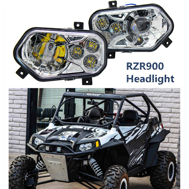 Newest RZR900 ATV UTV accessories LIGHT Led Headlight Headlamp kit 2012-2013 Polaris Ranger Side X Sides and Sportsman Chrome цена