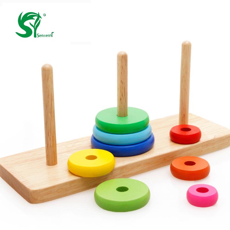 coloridos juguetes de madera para nios torre de hanoi juego intelectiva anillos del arco iris nios