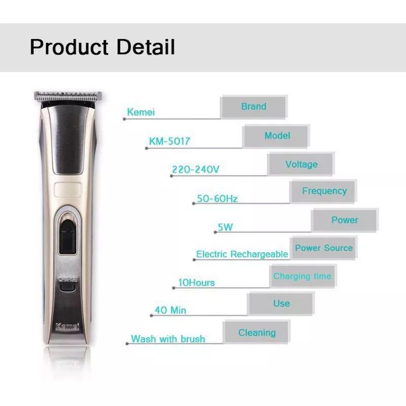 Tondeuse à cheveux professionnelle Salon de coiffure tondeuse à cheveux Rechargeable électrique coupe-cheveux rasage Machine rasoir KM-5017 - 5