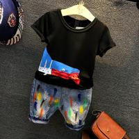 2PCS boys fashion summer clothing set kids o-neck fish pattern black t shirt and jean blue holes colorful short set boy clothes