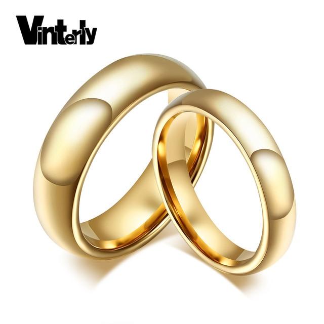 Vinterly 4 6mm Paar Gold Farbe Hochzeit Bands Ringe Tungsten Schmuck
