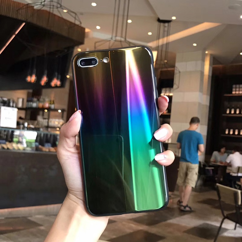 Case For iPhone X 7 8 Plus 6S Cover Laser Aurora Gradient (4)