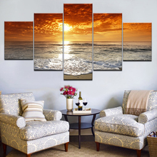 Art Pictures Framework Living Room HD Printed Home 5 Panel Sunset Sky Landscape Decoration Posters Modern Wall Painting Artwork
