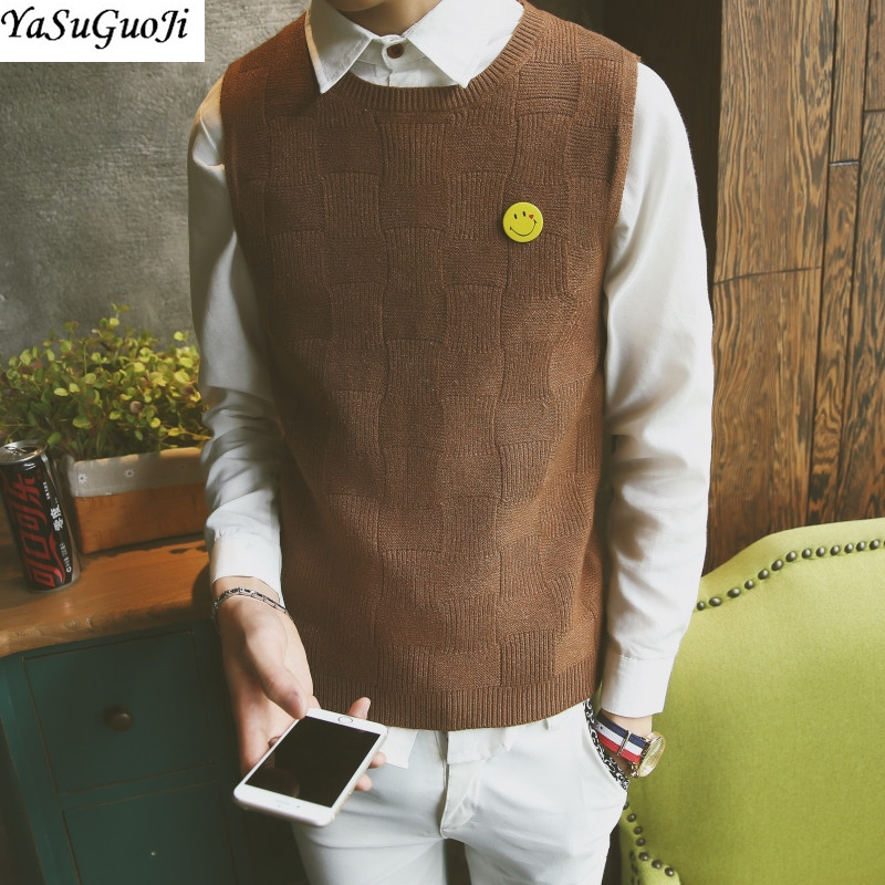 YASUGUOJI New 2019 Fall Sweater Preppy Style Casual Striped Vest Men Knitted Sleeveless Sweaters Vest Men Chirstmas Men Sweather