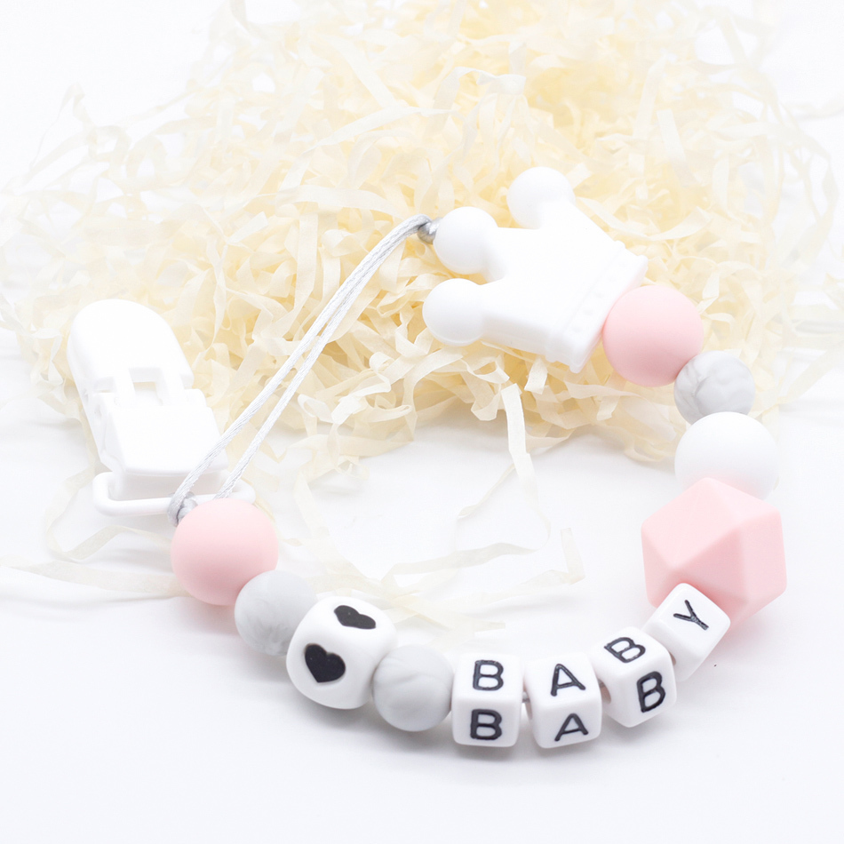 Personalized Name Silicone Baby Pacifier Clips Chain, Baby Teething Bracelet Play Gym Toy Set, Baby Shower Gifts Speenkoord