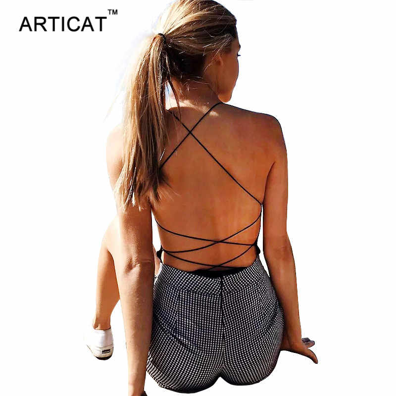 Articat Sexy Lace Up Backless Bodysuit Vrouwen Cross Bandage Bodycon Jumpsuits Zomer Romper Casual Pak Vrouwen Tops Overalls