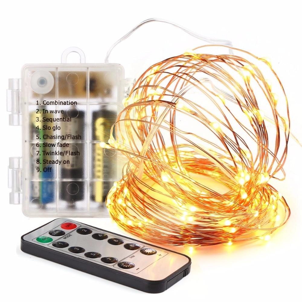 5M LED String batería de hadas Luces con control remoto blanco - Iluminación de vacaciones