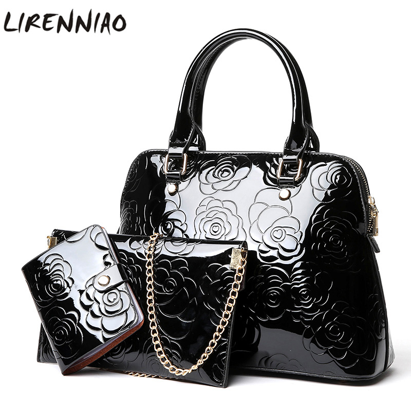 High Quality PU Leather Women Bags Floral Printing 3pcs Set Women Handbags Purse Cultch Composite Messenger