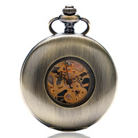 Antique Mechanical Pocket Watch Smooth Bronze Cover Short Chain Nurse Watches Minimalist Clock Creative Gifts For