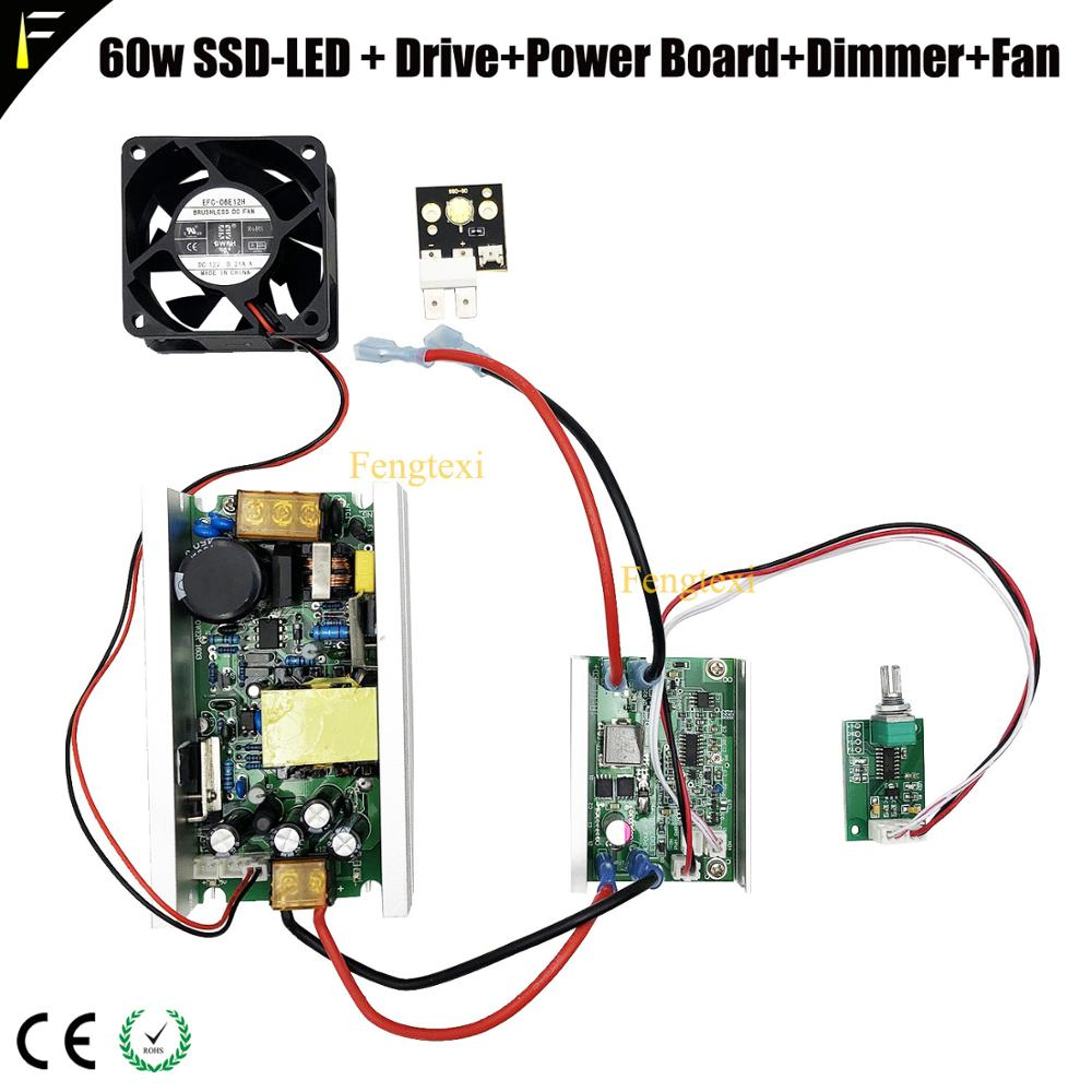 SSD90 SS-90 CST90 6500k 3000lumen Refitted LED 60w Lamp Light With Power Drive Dimmer For Stage Moving Head Projector Lights
