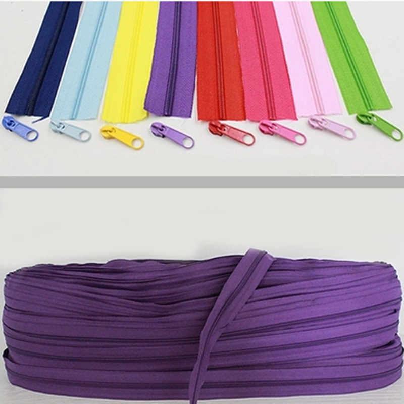 10 מטרים ארוכים #3 ניילון קויל רוכסנים תפירת DIY אביזרי בגד 22 צבעים לבחירה 2-021