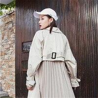 2020 nova moda personalidade preto plissado retalhos manga cheia casaco feminino longo tipo casaco|Trincheira| |  -