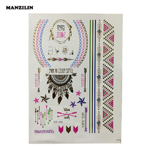 New Style Body Art Painting Tattoo Sticker Gold Silver Temporary Flash Tattoo Paste Disposable Indian Colorful Tattoos