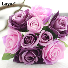 Luyue 16 Colors 9 Heads Artificial Silk Rose Flowers Bride Bouquet Simulation Fake Flowers Plant Home Wedding Party Decor