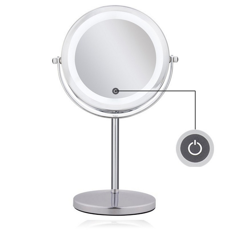 LED Lighted Makeup Vanity Mirror Double 2 Sided 10X magnifying pocket mirror Brightness Adjustable Touch Screen Make Up Mirror usb led makeup mirror maquiagem double sided wireless charge for phone led touch screen amplifier make up mirror cosmetics tool