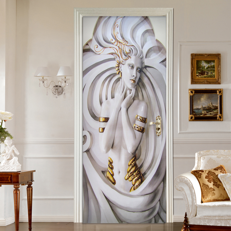 European Style 3D Embossed Statue Door Sticker Self-Adhesive Waterproof Mural Wallpaper Living Room Hotel Decor Wall Sticker 3 D custom photo wallpaper european style figure statue 3d embossed mural hotel living room backdrop mural wall papers 3d home decor