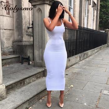 c9d794caec3bf Colysmo 2 Katmanlar Kadın Bodycon Elbise Pamuk yaz elbisesi 2019 Seksi gece  elbisesi Midi Elbise Tunik Temel Uzun Elbiseler Beyaz Vestido