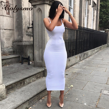 Colysmo 2 Layers Women Bodycon Dress Cotton Summer 2019 Sexy Club Wear Midi Tunic Basic Long Dresses White Vestido