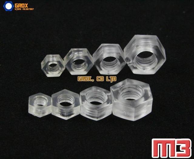 500 peças M3 Acrylic Metric Hexagon nut nut cách nhiệt