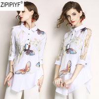 2018 блузка с принтом Для женщин женские офисные Стиль цветок рубашка 3/4 рукавом отложным воротником дамы Топ Повседневная Блузка Femininal C1162