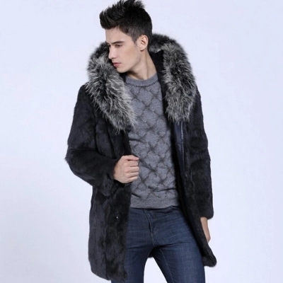 Single Breasted Winter Long Herre Hooded Overcoats Faux Fur Jackets - Herretøj - Foto 6