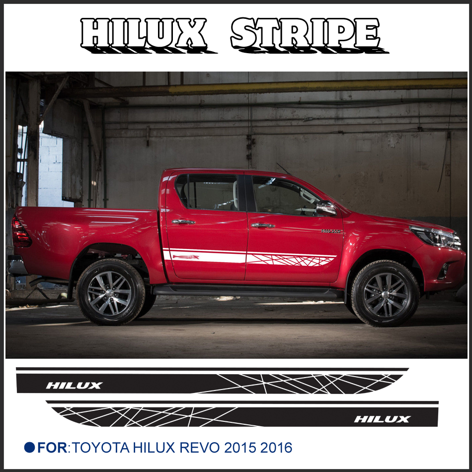 free shipping 2 PC hilux side stripe graphic Vinyl sticker For Toyota Hilux Revo SR5 M70 M80 15 2016 2 pc hilux hilux chequered racing side stripe graphic vinyl sticker for toyota hilux decals