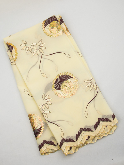 African Fabric 5 Yards  Cotton Obama Lace Yellow, Gold, Wine OL00027