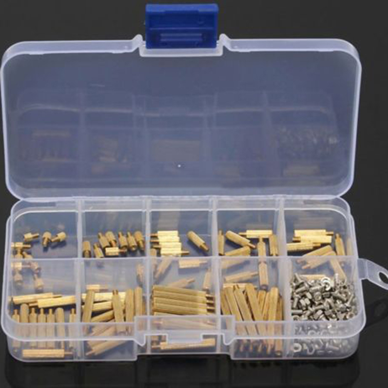 270pcs/set Brass Standoff Screws M2 Male to Female Nuts Assortment Kit Set DIY Tool with Box 180pcs set m2 m3 m4mm female female brass standoff spacer board hex nuts assortment standoff set box hexagonal stud spacer