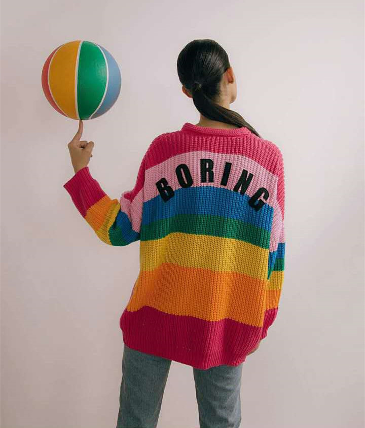 Danjeaner V Neck Single Breasted Knitted Cardigans Women Harajuku Rainbow Stripes Letter Long Sleeve Sweaters Streetwear Jumpers 2