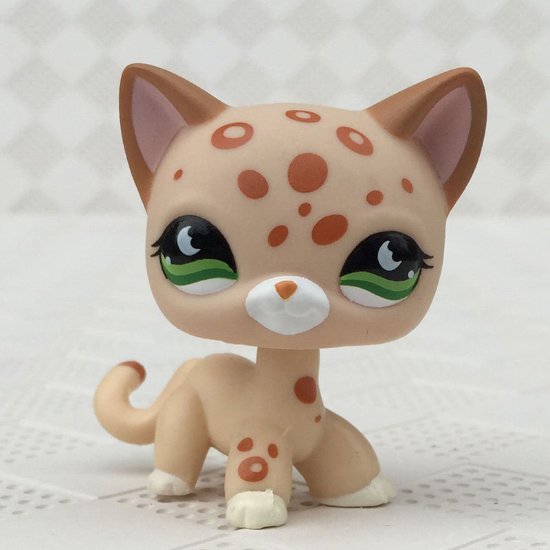 Pet Shop Toys #852 Yellow Short Hair Cat Old Original Animal Collection Tan Spotted Leopard Kitty Girl Gift