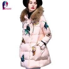 Высокое Качество 2016 Мода Женщины Куртка Зима Вышивка Куртка Женская Белая Утка Вниз Парки Меховым Воротником С Капюшоном Теплая Вниз Пальто