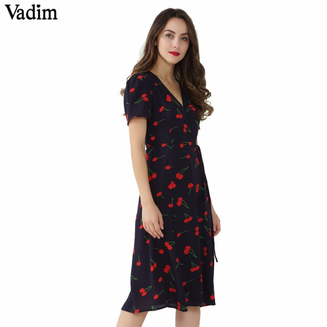 Vadim vintage V neck floral pattern midi wrap dress cherry dress bow tie  cross design short