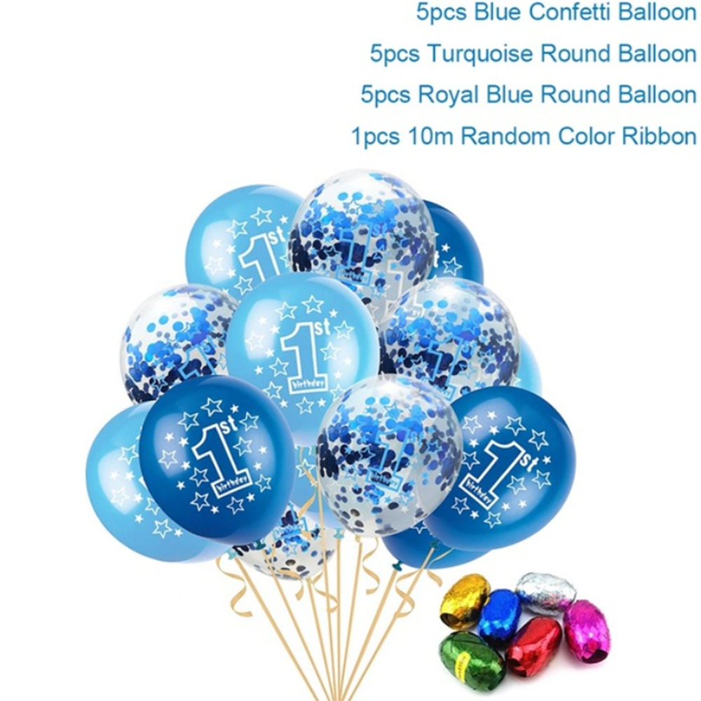 15pcs/set Round 12 Inches Latex Balloons For Baby Boys Girls 1 Year Old Birthday Party Celebration Balloon Kids Birthday Gifts Ballons & Accessories Festive & Party Supplies