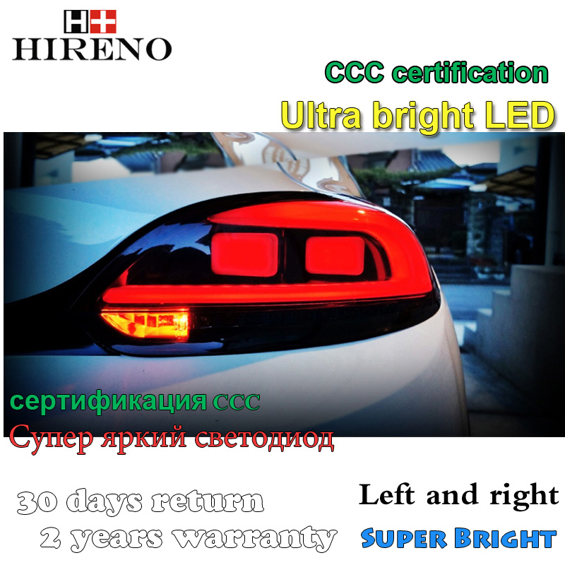 Hireno Tail Lamp for Volkswagen Scirocco 2006-15 LED Taillight Rear Lamp Parking Brake Turn Signal Lights new car styling left right rear light tail lamp taillight for 2006 2008 volkswagen passat rear taillight assembly auto parts