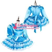 Free Shipping lockable Sissy maid Satin-Organza dress Uniform cosplay costume Tailor-made[G2016]