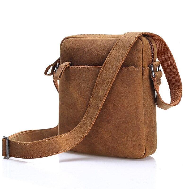 Rétro hommes en cuir véritable affaires loisirs bandoulière Messenger sacs huile cire peau de vache sacs à bandoulière mâle IPAD Packs