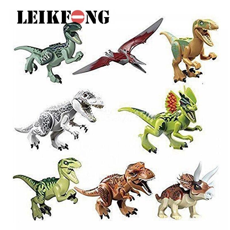 8 unids/lote dinosaurios de Jurassic mundo figura película Toy DIY bloques huecos modelo juguetes niños regalos