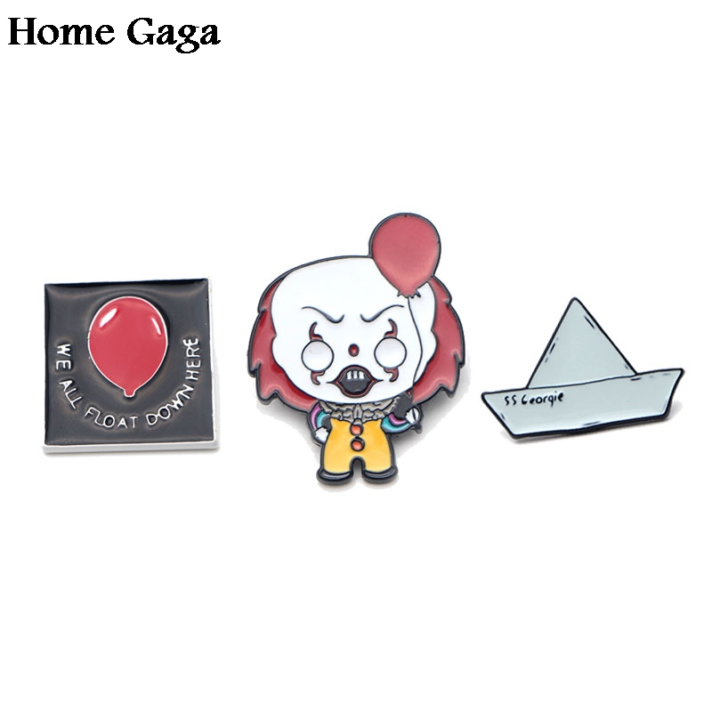 Home & Garden Able 10pcs/lot Homegaga Stephen Kings It Clown Zinc Alloy Tie Pins Badges Para Shirt Bag Backpack Shoes Brooches Badges Medals D1309 Pleasant In After-Taste