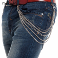 New Men Silver Metal Short Wallet Jeans Chains 5 Layers Trousers  KeyChain Biker 5 Strands Jeans Waist Chain KB62