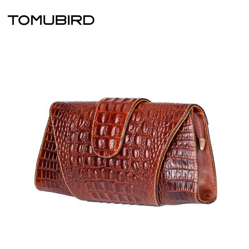 TOMUBIRD 2017 new fashion superior leather designer bag famous brand women bags alligator grain women genuine leather clutch bag