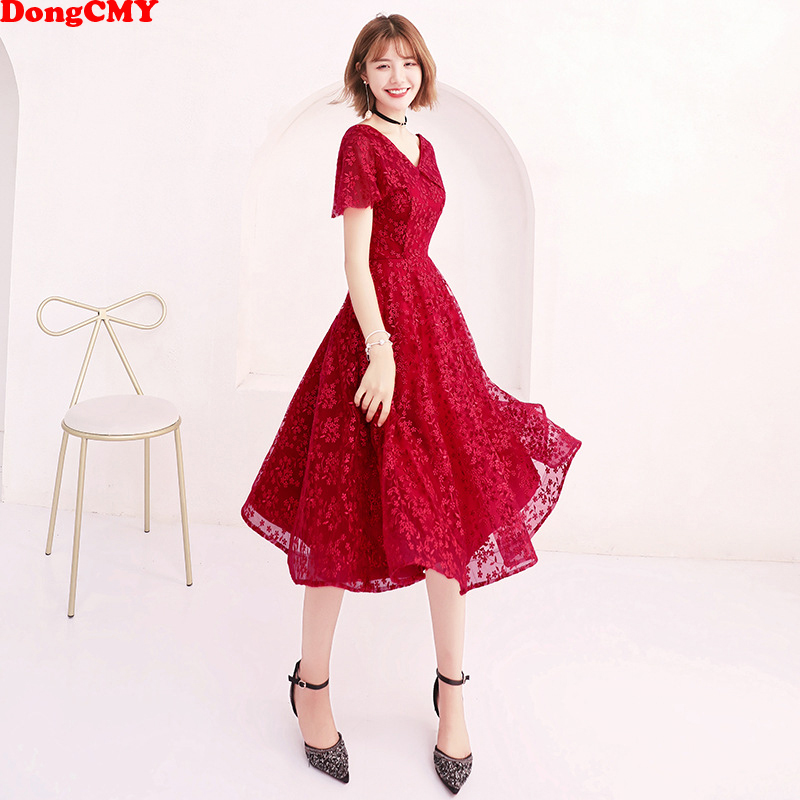 DongCMY New Arrival Bridal Short Flower   Bridesmaid     Dresses   Women Lace Wedding Occasion Party Gown