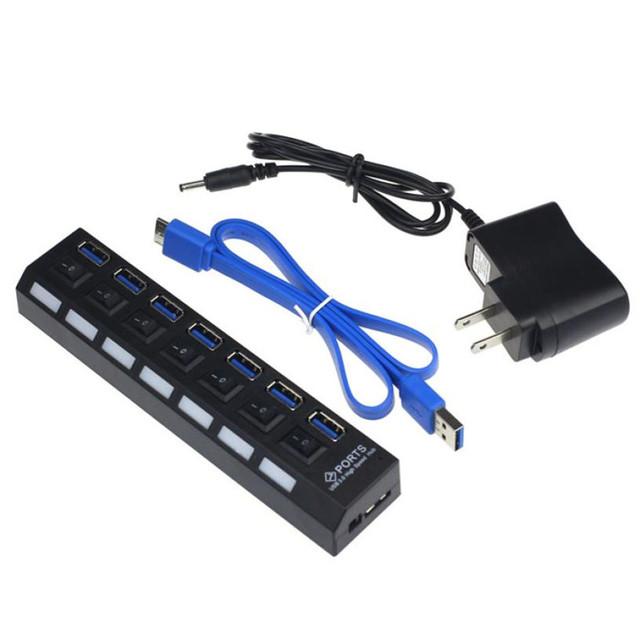 Preço de fábrica 7 Portas USB 3.0 HUB Alta Velocidade Com o Power Adapter Para Notebook Laptop PC 51228 Transporte da gota