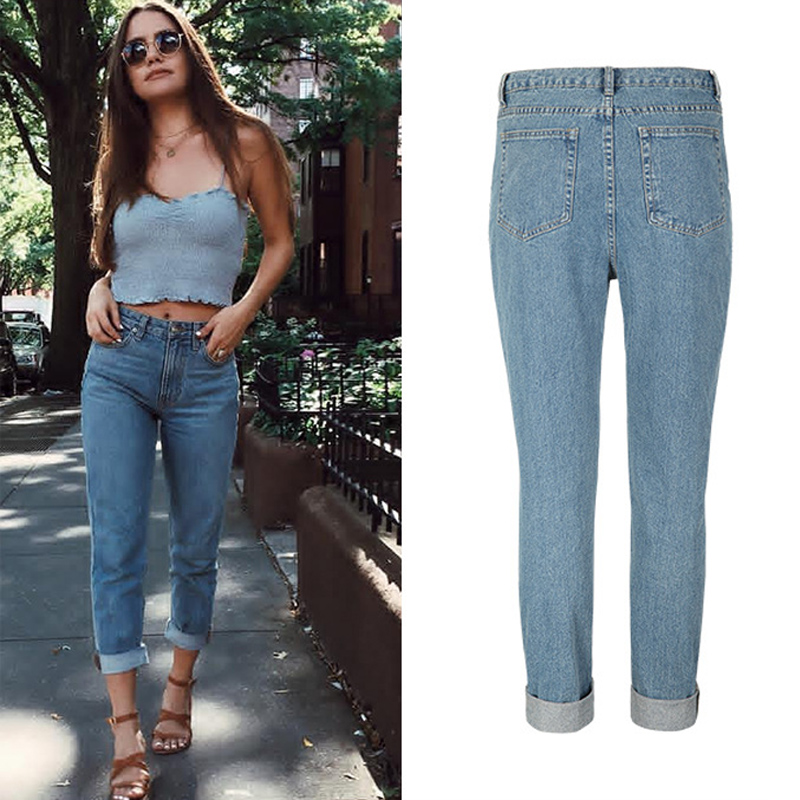 1f9edaf55db CamKemsey Loose Boyfriend Jeans Woman Washed Blue High Waist Ripped Jeans  For Women Casual Cropped Denim Pants Trousers