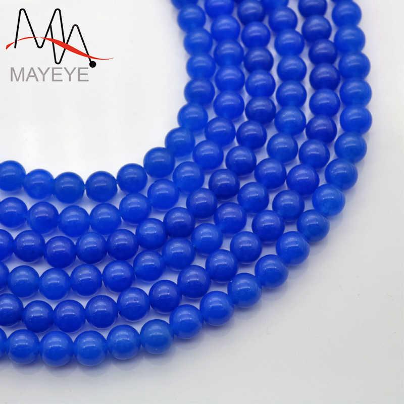 Piedra envío gratis Natural 4mm-12mm redondo azul Calcedonia cuentas para joyería que hace la pulsera Diy