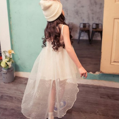 ФОТО Summer children's wear dress girl baby fish princess dress white evening dress flower girl dress