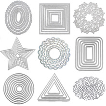 Round Metal cutting Dies Flower Background Border die cut lace rectangle oval frame Craft dies for card making scrapbooking